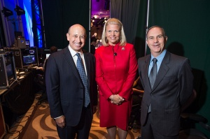 Goldman Sachs' Lloyd Blankfein, IBM's Ginni Rometty and Fortune's Andy Serwer backstage at MPW.